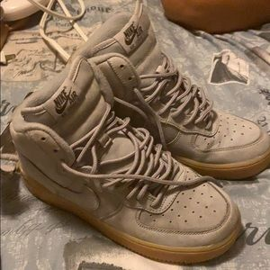 High top Nike Air Force 1s suede grey